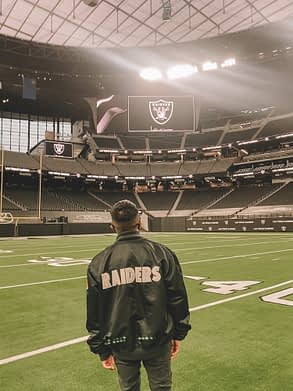Mikey visiting Allegiant Stadium to his work on the Las Vegas Raiders new tour experience.